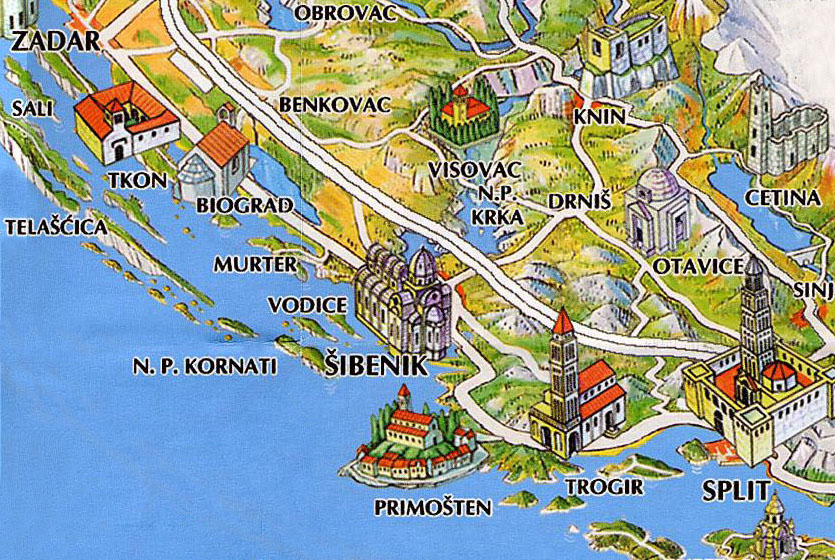 SibenikCroatiainfo The town and riviera of Sibenik – Croatia Tourist Map