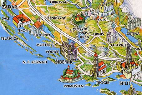Map of Sibenik area